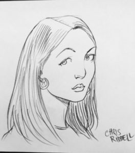Chris Riddell's drawing of me